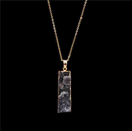 100% Natural Stone Pendant Necklace Colorful Amethyst Stone Charms Jewelry Collares bijoux Clavicle chain necklace 2016 - Alternative Measures