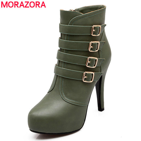 2015 winter new hot sale stiletto high heels round toe women shoes sexy platform fashion buckle ankle boots large size - Alternative Measures