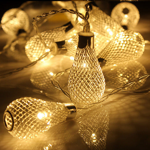 20led Battery Operation led string LED Metal Drip String Lights Event Lightings Patio Wedding Party Christmas lights Bedroom Holiday Decoration Alternative Measures - Alternative Measures