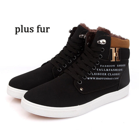 2015 Men Boots Winter Lace Up Anlke Boots Suede Flat Snow Boots Men Winter Shoes High Top Men Shoes - Alternative Measures
