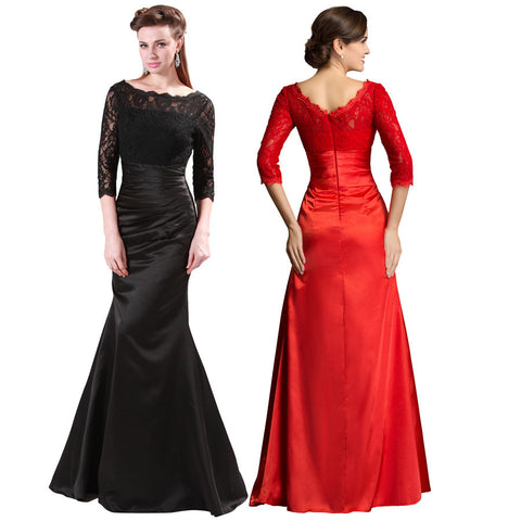 ! GK Black Three Quarter Sleeve Lace + Satin Wedding Evening Celebrity Prom Party Dress 8 Size US 2~16 CL4524 - BRIDESMAID DRESSES BRIDAL GOWNS PROM - Alternative Measures