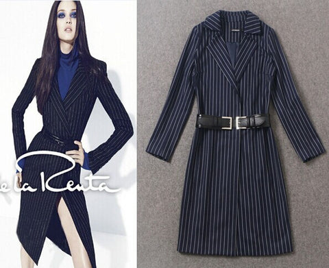 2014 Brand Women Elegant Garment Autumn&Winter New Fashion Long Sleeve Striped High Quality Long Coat - Alternative Measures