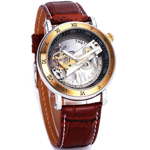 #1Original Luxury Golden Bridge Men Mechanical Wrist Watch Leather Strap Quality Golden Plating Case Business Steampunk Fashion Alternative Measures - Alternative Measures