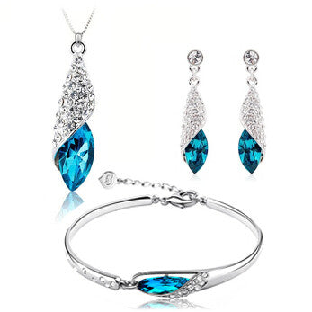 100% Silver 925 AAA Jewelry Sets for Women Blue Conch Necklace+Earring+Bracelet Solid Silver Alternative Measures - Alternative Measures