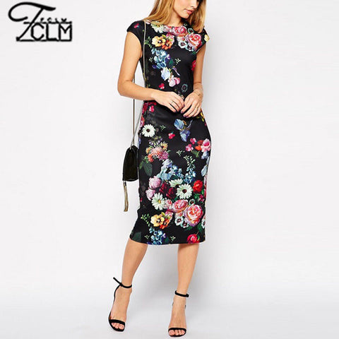2015 Ethnic Sexy Slim Bodycon Pencil Dress Retro Vintage Floral Printed Dress Sleeveless Hip Package Party Dress EC9262 - Alternative Measures