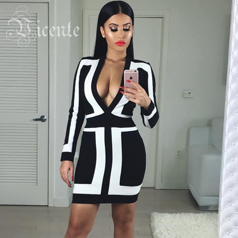 2016 S/S Hottest Free Shipping! Stunning Black & White Deep Vneck Long Sleeves Club Celebrity Party Bandage Dress - Alternative Measures