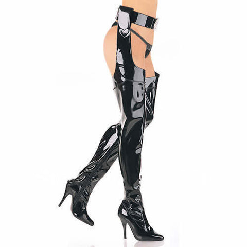 "58cm length Extreme high 12cm 5"" high heel gladiator over the knee boots, big mens boots,thigh high y boots with belt Alternative Measures - Alternative Measures"