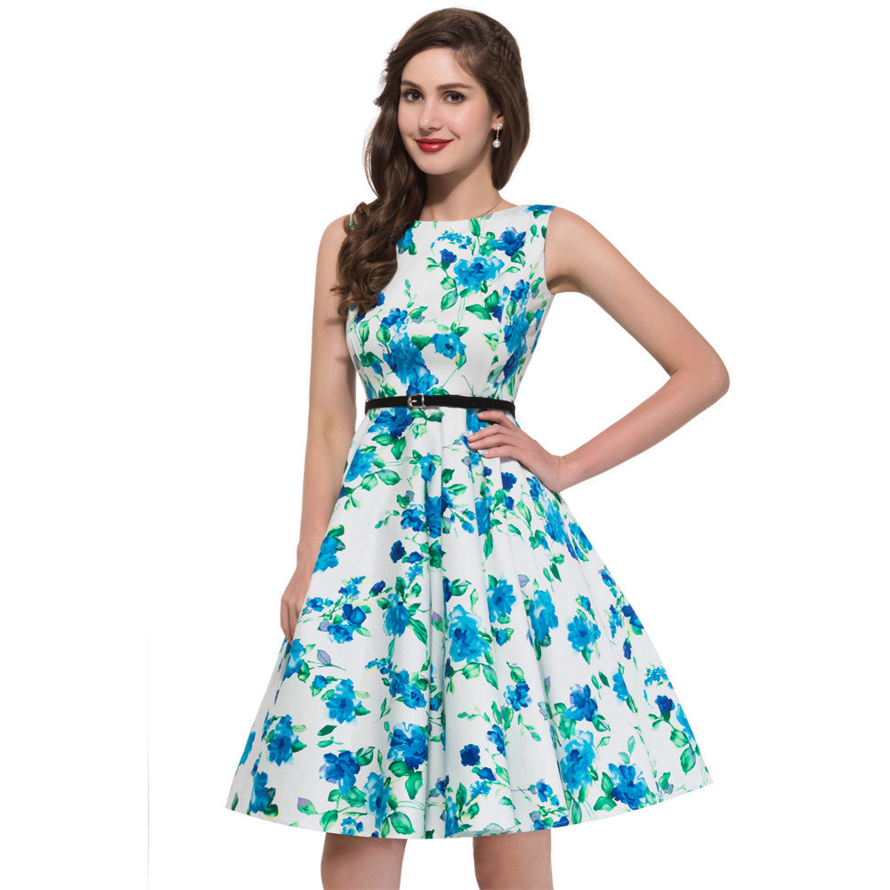 Tank Style Women Summer Vintage 50s Rockabilly Dresses Pinup Floral ...