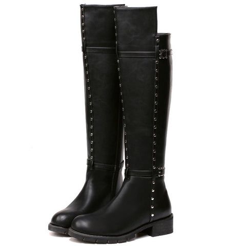 Black Pu Leather Thigh High Boots Punk Style Rivet Knee High Boots Fashion Comfortable Heel Boots Ladies Zip Round Toe Shoes Alternative Measures - Alternative Measures