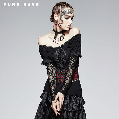 Gothic Black And Violet Two Wear T-shirt With False Waist Belt Desing Punk Rave Alternative Measures - Alternative Measures