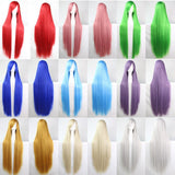 100 cm Harajuku Cosplay Wigs Anime Long Straight Heat Resistant Synthetic Hair Wig Alternative Measures - Alternative Measures