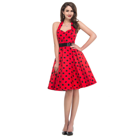 2015 Summer New Women Cotton Sleeveless Party Dress Plus Size Polka Dots Print Pattern Vintage dress Swing Rockabilly Ball Gown Alternative Measures - Brides & Bridesmaids - Wedding, Bridal, Prom, Formal Gown - Alternative Measures