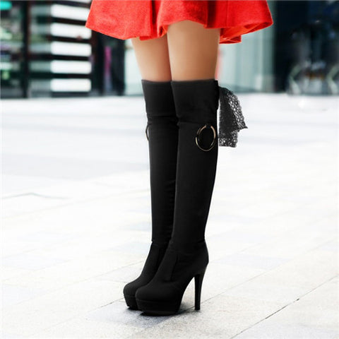 2015 round toe thin high heels buckle lace over the knee boots platform thigh high boots party dress wedding shoes Alternative Measures - Brides & Bridesmaids - Wedding, Bridal, Prom, Formal Gown - Alternative Measures