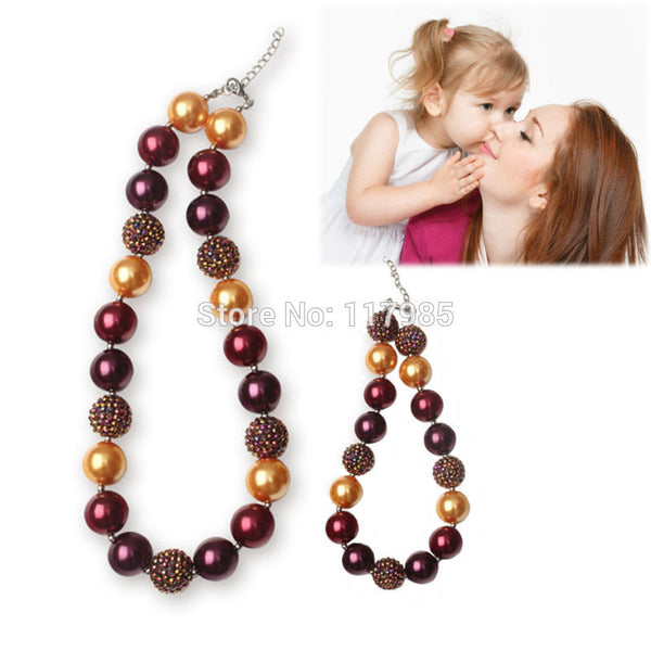 1 Set 2pcs/set  New Chunky Bubble Gumball Bead Summer Girls Necklace Set Lovely Mother Daughter Jewelry for Party Accessories - Alternative Measures