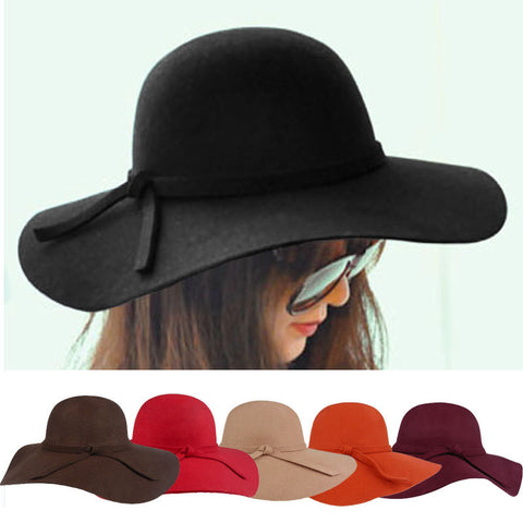 2014 Fashion New Vintage Women Ladies Floppy Wide Brim Wool Felt Fedora Cloche Hat Cap 6 Color Free Shipping - Alternative Measures