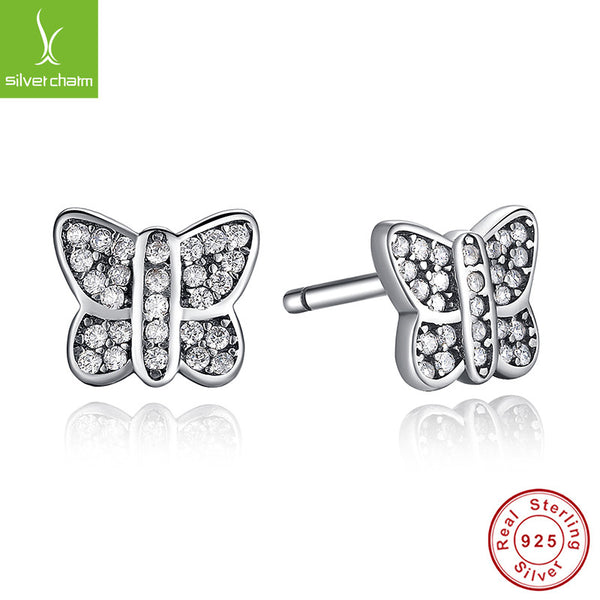 100% 925 Sterling Silver Sparkling Butterfly Stud Earrings For Women Compatible with Pandora Jewelry Authentic Fashion Gift ALX-SCJS ALX-SCJS - Alternative Measures