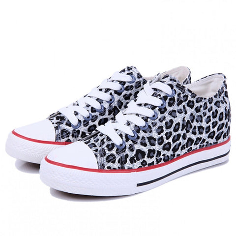 2016 Shoes Woman Leopard Lace up shoes Flats Women canvas ladies Casual shoes #17jym-5 - Alternative Measures