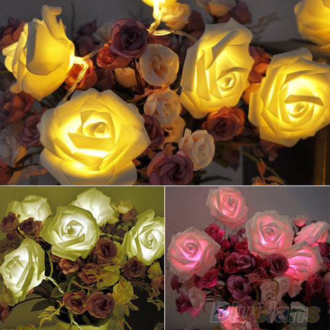 20LED Rose Flower Fairy Wedding Garden Party Christmas Decoration String Lights Event Lightings Alternative Measures - Alternative Measures