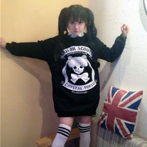 2015 New Self-Design Gothic Kawaii Lolita Hoodie Punk Sweater Desigual Cartoon Sailor Moon Hoodies Cute Woman Clothing - Alternative Measures