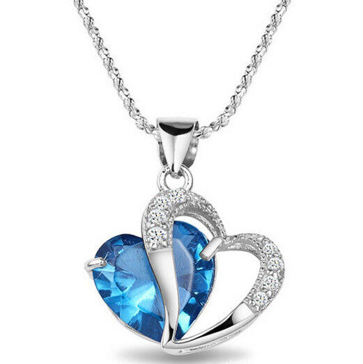 1 PCS Top Class Romantic Elegant Women Girls Lady Heart Crystal Amethyst blue Pendant Necklace Jewelry Fashion - Alternative Measures