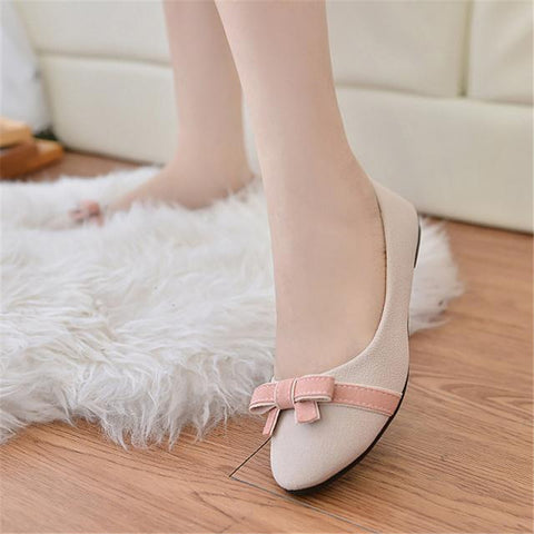 2016 Spring Brand Designer Flats Women Leather Flat Shoes Casual Solid With Bow PU Round Toe Shoes Slingback Slip On Bowtie - Alternative Measures