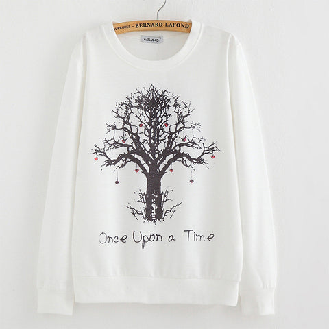 2015 New winter Hoody women Casual hoodies Strawberry tree print thin inside long sleeve o neck letters sweatshirt for women - Alternative Measures