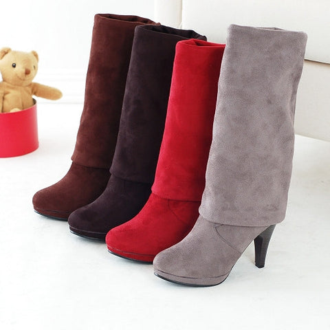 2015 Big size 30-43 Women Knee High Boots Sexy Spiked High Heels Round Toe Flock Uppers Sprig Autumn Shoes Platform Knight Boots - Alternative Measures