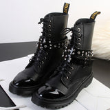 10 holes COOL martin shoes for women rhinestone belt buckle women punk boots solid color bandage platform Motorcycle Boots women Alternative Measures - Alternative Measures
