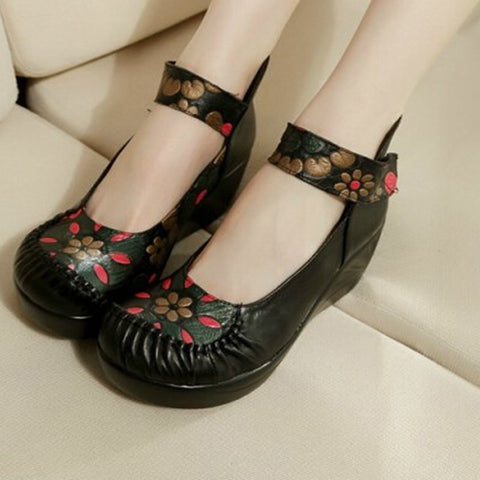 2014 National Trend Ethnic Genuine Leather Round Toe Strap Pumps Platform Wedge Floral Print High Heels Mary Jane Shoes Sandals - Alternative Measures