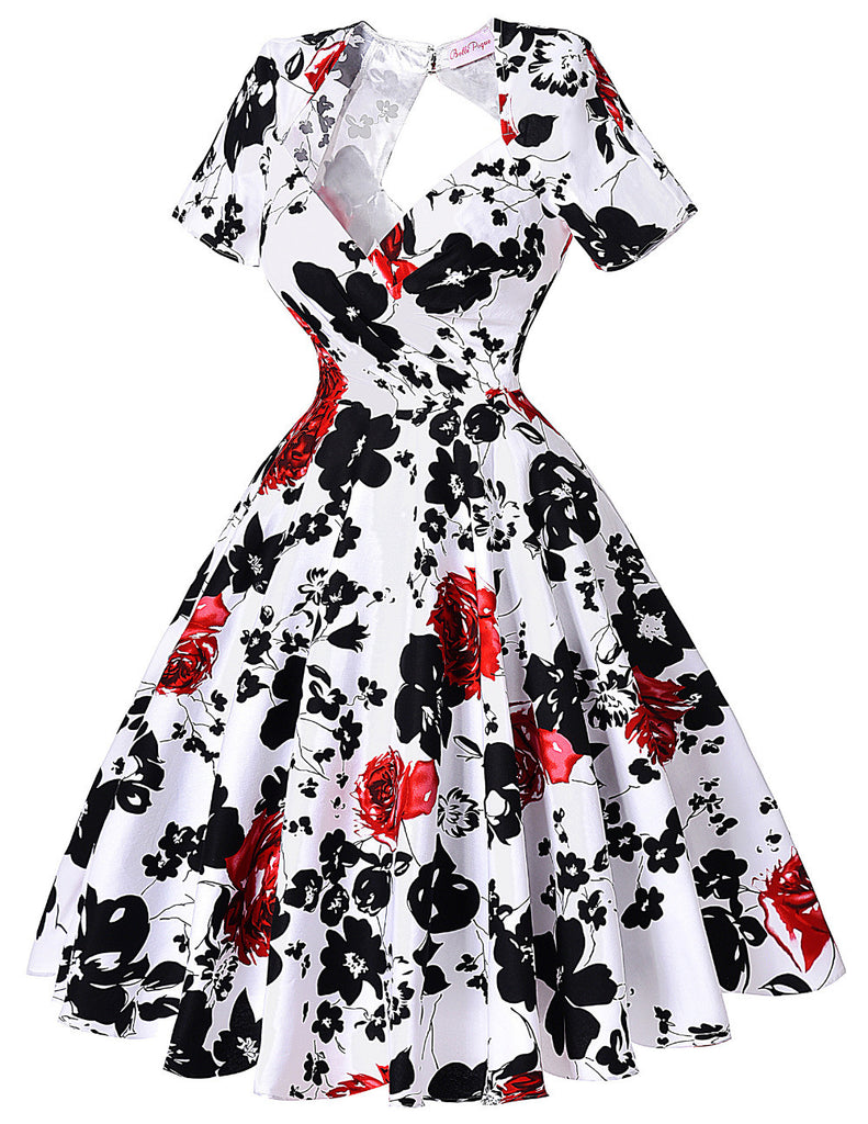 Short Sleeve Floral Print 50s Vintage Dresses Retro Swing