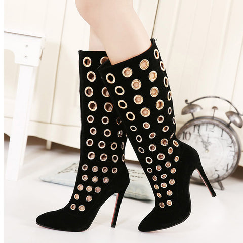 2015 autumn winter brand new designer runway celebrity red holes bottom sole knee high cut out faux suede boots pumps sandals 40 - Alternative Measures