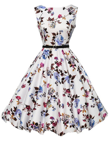 2015 Audrey Hepburn Vestidos S-2XL Plus Size Women Floral Print Party Robe Rockabilly 50s Vintage Dresses With Belt D57232 - Alternative Measures