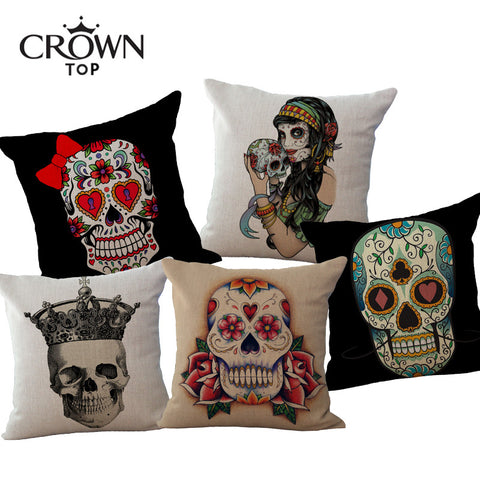 "17"" x 17""Linen Cushion Covers Skull Printed For Sofa Decorative Cotton Pillowcover Throw Pillow Case Sofa Decor Couch Alternative Measures - Alternative Measures"