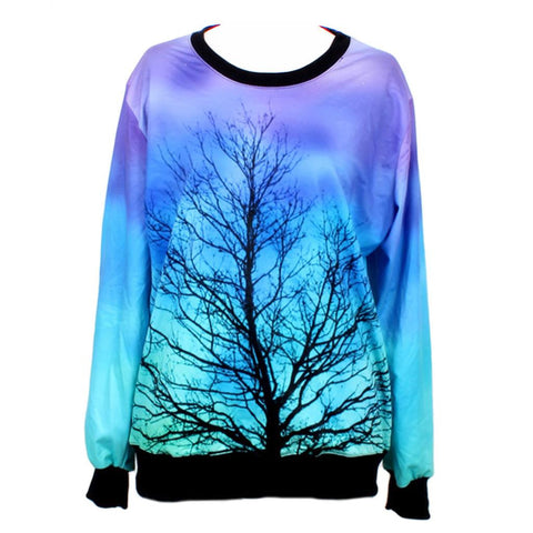 2015 Autumn Harajuku Creative 3D Galaxy Tree Print Women Pullover Sweatshirt Long Sleeve Women Hoodies Casual Women Tops Tees - Alternative Measures