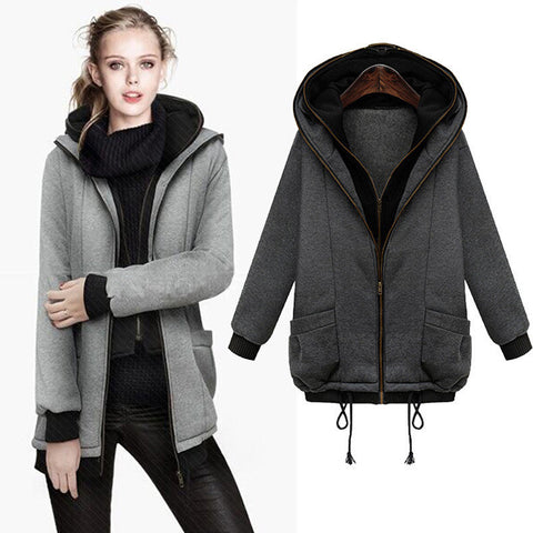 2015 Korea Women Hoodies Coat Warm Zip Up Outwear Winter 2 Piece Set Female Sport Suit for Women Casual Tracksuit Gray JX619 - Alternative Measures