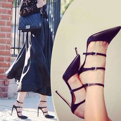 2015 Sexy Brand Women Pumps Buckles Strappy Pointed Toe High Heels Fashion Gladiator Stilettos Woman Dress Shoes Female Sapatos - Alternative Measures