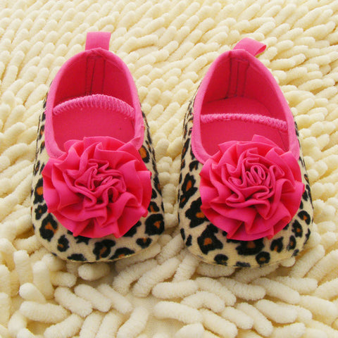 0-18M Infant Baby Kids Girls Soft Sole Leopard Flower Shoes Knitted Crib Shoes - Alternative Measures