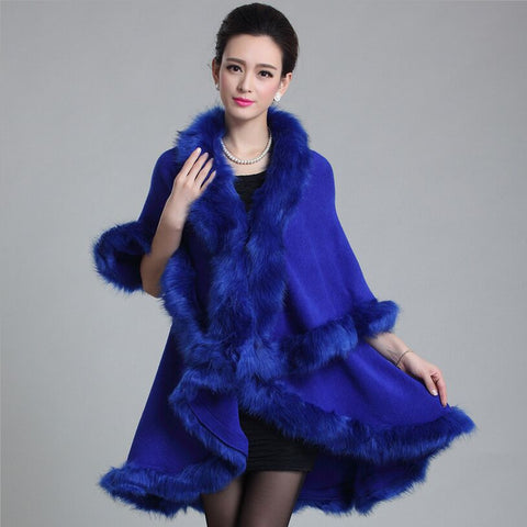 2015 autumn and winter new elegant fur coat women double long faux fur Imitation fox collar knitted fur shawls capes,12 colour - Alternative Measures