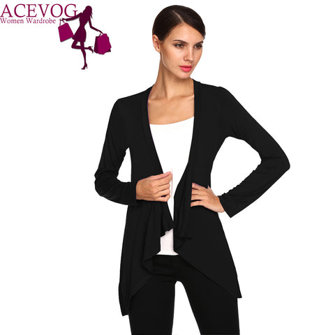 ACEVOG Brand Casual Spring Autumn Women Ladies Long Sleeve Cardigan Jacket Solid Thin Modal Jacket Yellow, White, Purple, Black PLUS SIZE - Alternative Measures