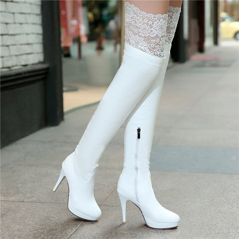 2015 New Women Shoes Red Bottom Thigh High Boots Platform Thin Heels Sexy Fashion Over the Knee Boots Plus Size White Black - Alternative Measures