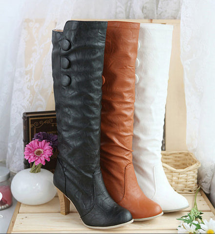 2015 New Arrival Hot Sexy High Heels Autumn Shoes for Women Knee High Boots Round Toe Less Platform Knight Boots size 34-43 - Alternative Measures