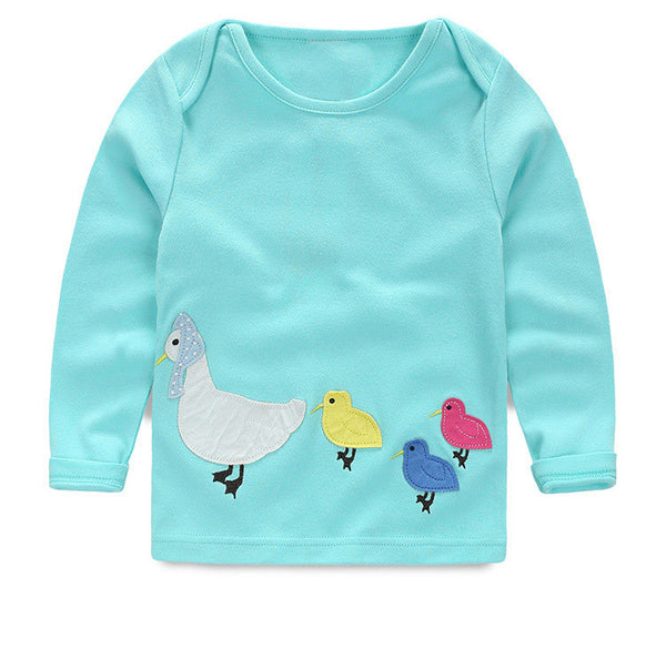 1-8Y New Girls tees Children T-shirt Baby Girl Long sleeve shirts Cartoon Blouse autumn clothes kids cartoon cotton sweater - Alternative Measures