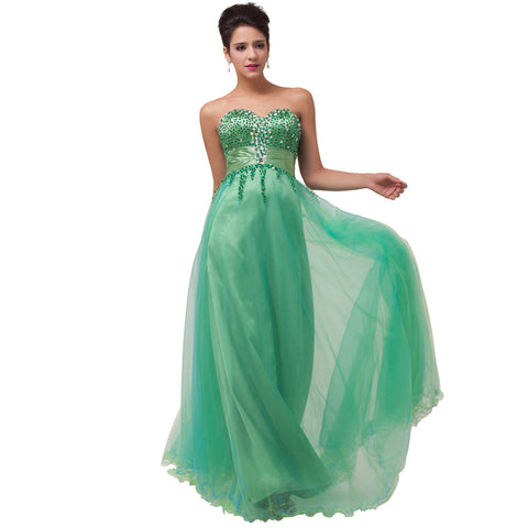 ! New Strapless V-Neck Tulle + Silk-Like Ball Gown Long Green Prom Dresses CL6063 - BRIDESMAID DRESSES BRIDAL GOWNS PROM - Alternative Measures