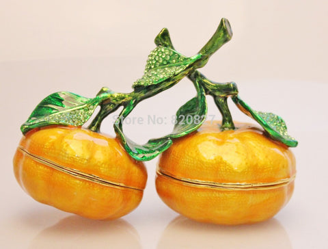 2 Tangerine Oranges Handmade Jeweled Metal & Enamel Trinket Box - Alternative Measures