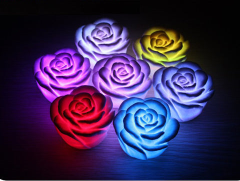 10pcs/Lot New Romantic Colors Changing Rose Wedding Party Flower LED Night Decoration Candle Light Lamp Alternative Measures - Alternative Measures