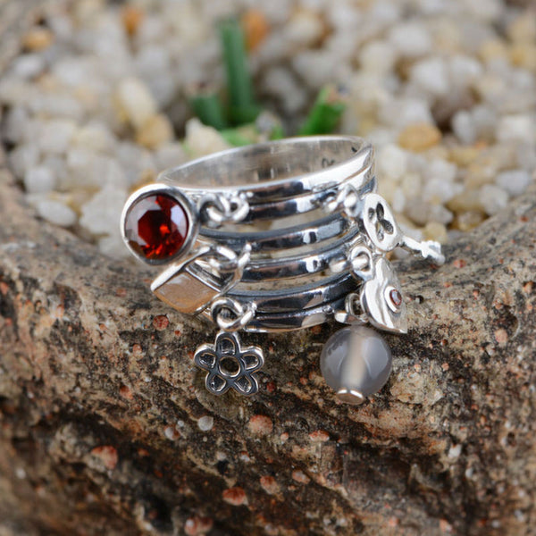 100% real pure 925 sterling silver jewelry ring silver garnet lock&keys charm Rings Best Gifts for women high quality - Alternative Measures
