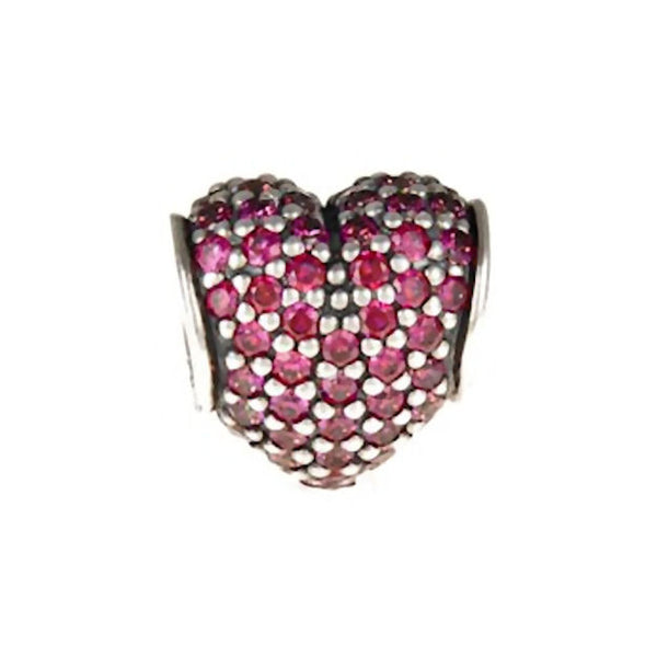 Authentic Pandora Jewelry - Authentic Pandora Sterling Silver Pavé Heart Charm Bead - Red CZ - Alternative Measures