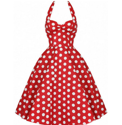 Red & White Polkadots Made-to-Order Retro 50s Pinup Girl Rockabilly Style Dress by After The Rain - Brides & Bridesmaids - Wedding, Bridal, Prom, Formal Gown - Alternative Measures -