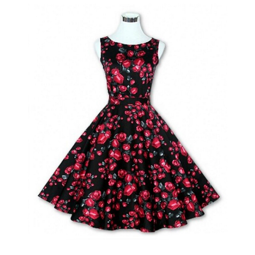 Red Roses on Black Made-to-Order Retro 50s Pinup Girl Rockabilly Style Dress by After The Rain - Brides & Bridesmaids - Wedding, Bridal, Prom, Formal Gown - Alternative Measures -