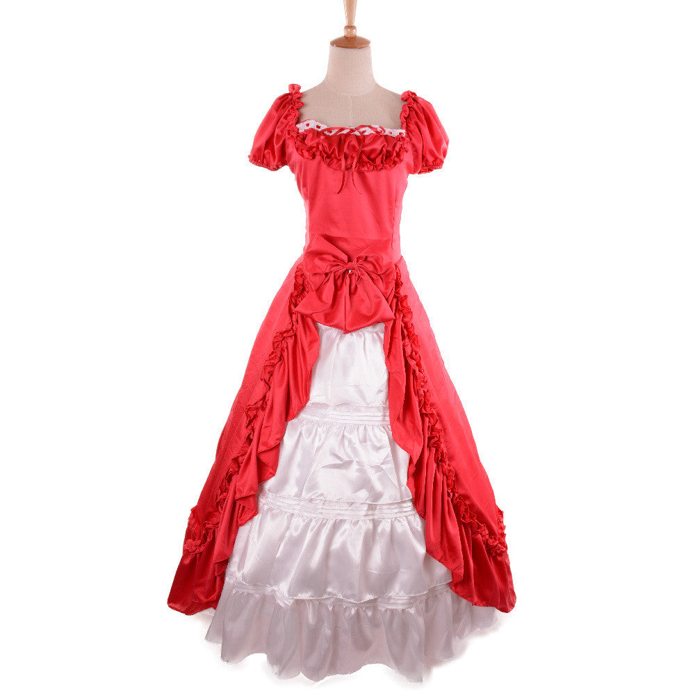 victorian dress red ball gowns costume women period costumes gowns ...
